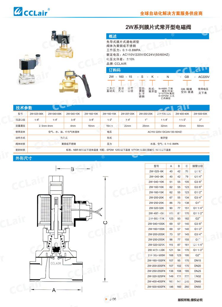 2W系列膜片式常开型电磁阀