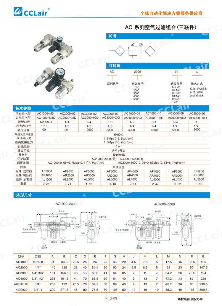AC系列空气过滤组合(三联件)